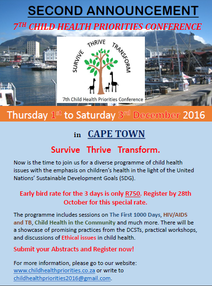 f24daacfb60 7th Child Health Priorities Conference 1 - 3 December 2016